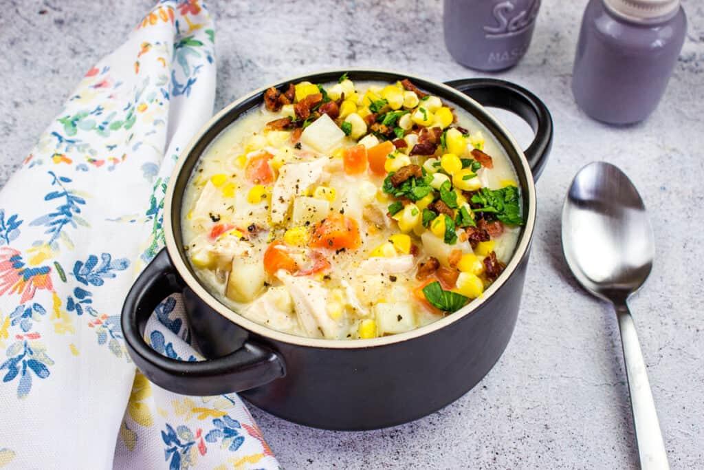 add cream, milk, and thicken. serve and enjoy chicken corn chowder!