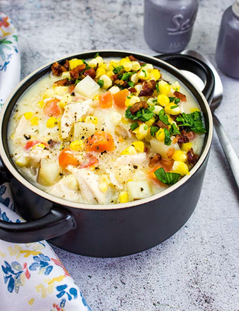 chicken and corn chowder in a bowl