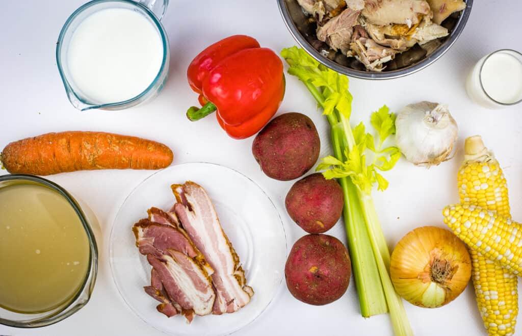 Ingredients to make chicken corn chowder