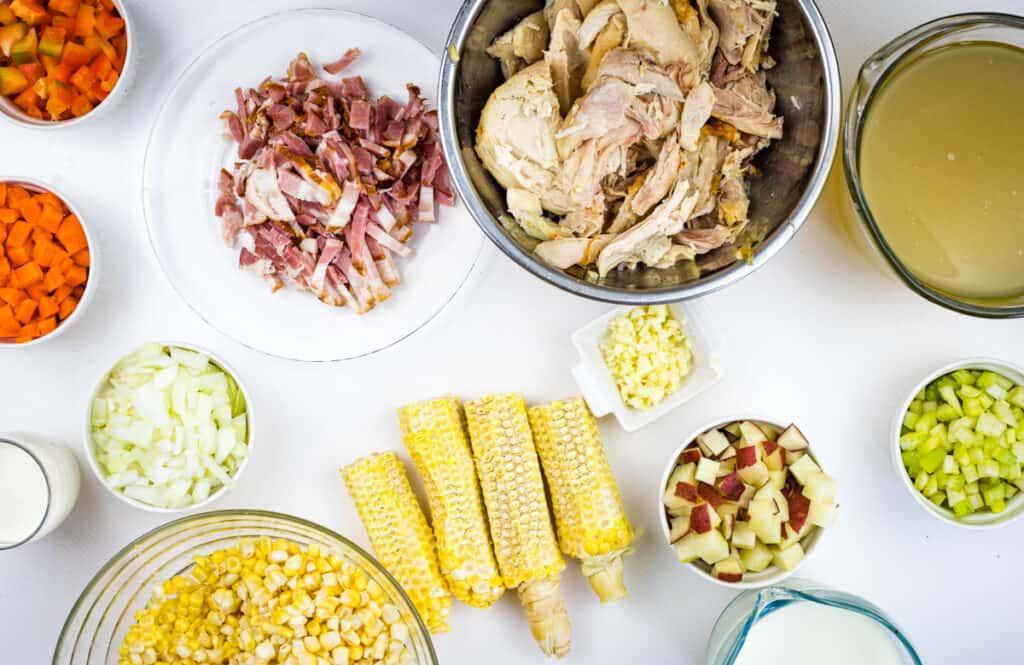 prepped ingredients to make chicken corn chowder