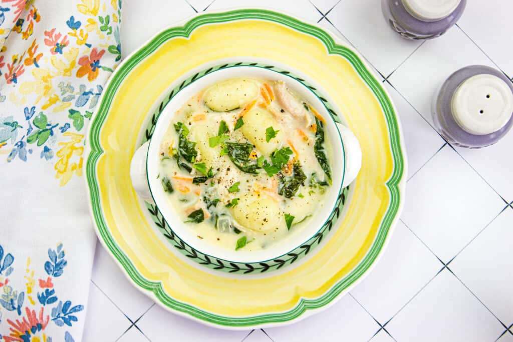 chicken and gnocchi soup in a bowl