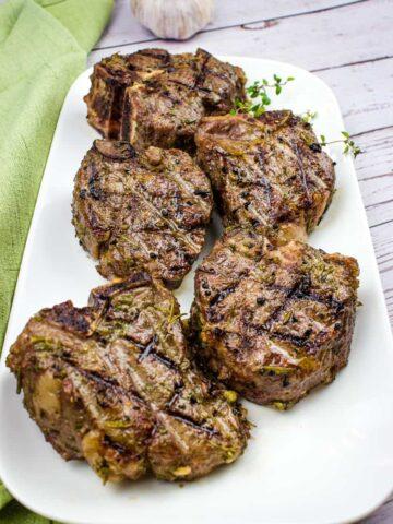 smoked lamb chops on a platter