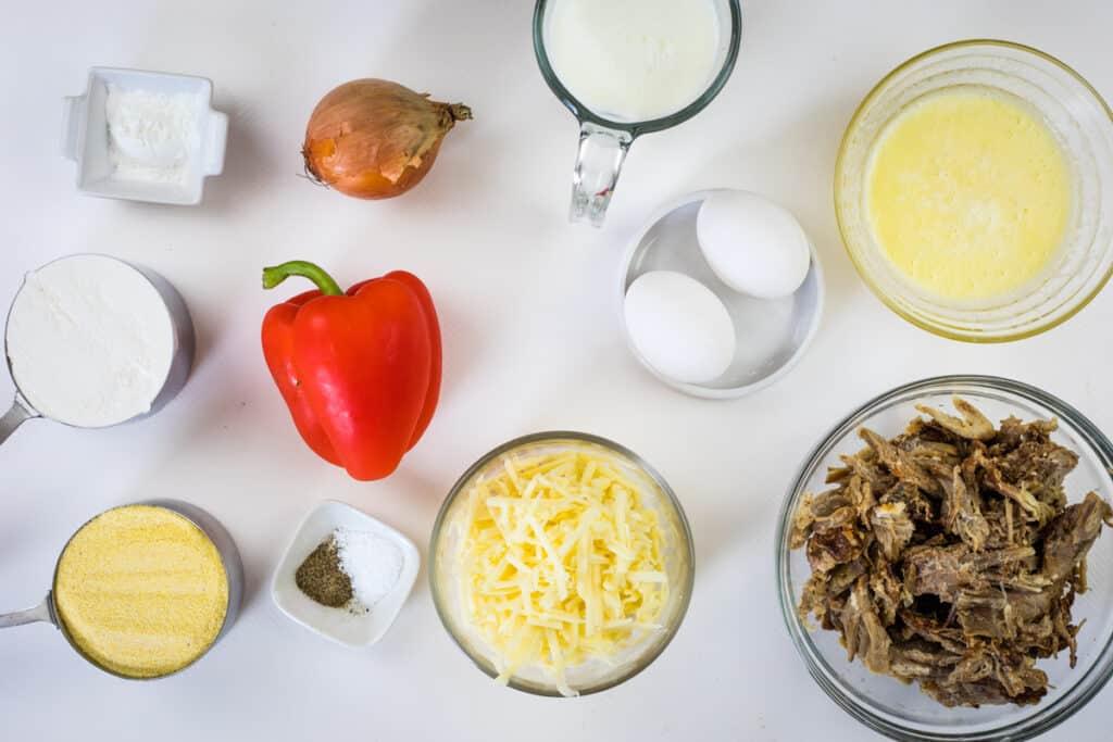 ingredients to make pulled pork stuffed cornbread