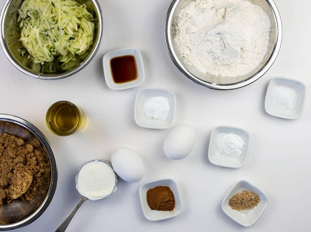 ingredientst to make moist zucchini bread recipe